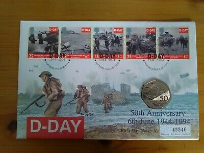 D Day 50th Anniversary coin cover, 1994,  special UK 50p coin.