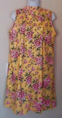 62bb13837f23a Lovely Golden Yellow / Floral Print Mandarin /VNeck Sleeveless Kimono Dress  M/L