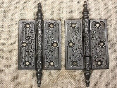 "2 Door Hinges 3 1/2 X 3"" old steeple top restored pin shooting dot clean vintage"
