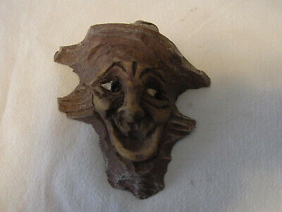 Small Vintage German Black Forest Carved Wood Laughing Gnome Wall Ornament #BP