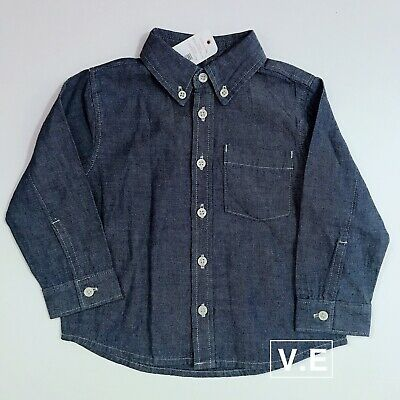 $30 GYMBOREE Toddler Boys Button Down BLUE Denim/Chambray Shirt Sz 12-18 months