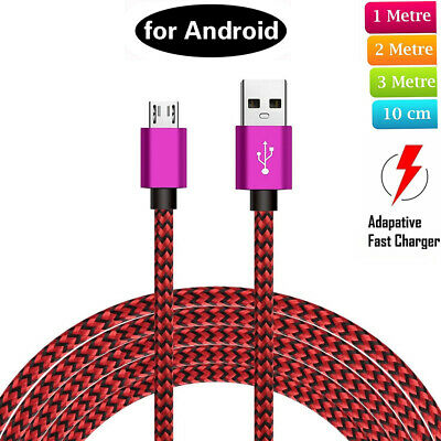 Strong Braided Micro USB Charger Charging Data Cable Lead for Android Phones