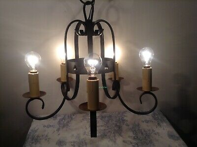 Vintage French 5 Arm Wrought-Iron Gothic Chandelier Light (3675)