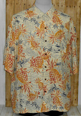 b62d49bc2 Vintage Iolani Hawaiian Shirt Mens 2XL Short Sleeve Silk Pineapples Floral