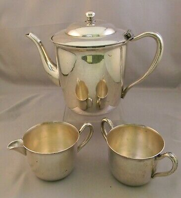 Vintage Academy Silver on Copper Teapot, Sugar Bowl, Creamer. No Monos.