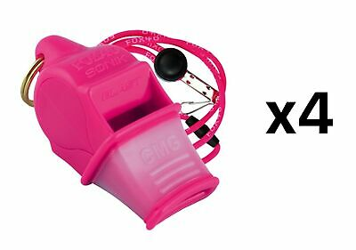 Fox 40 Sonik Blast CMG 2-Chamber Pealess Whistle with Lanyard, Pink (4-Pack)