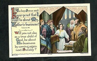 F191 Linen postcard Religious The boy Jesus Christ about his Father's business