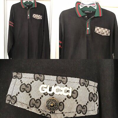 19ecbda0 Authentic GUCCI Made In Italy Black Cotton Polo Shirt Long Sleeves Size 2XL