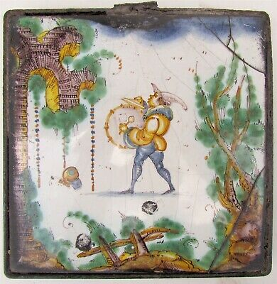 ANTIQUE 18th CENTURY EUROPEAN DUTCH ? GLAZED CERAMIC TILE DRUMER MUCISIAN