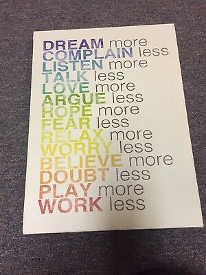 Stupell - Hideout Designs 'Dream More' Canvas Wall Art White - Rainbow Letters