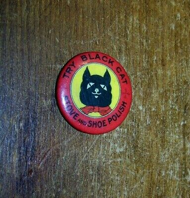 Antique Art Deco Black Cat Stove Shoe Polish Advertising Pinback Badge Button