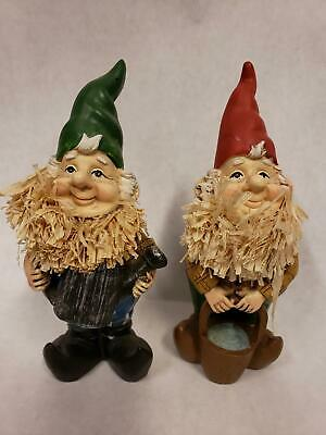 Set of 2 Carved Wood Painted Gnome Figures with Corn Husk Beards  5 1/2""