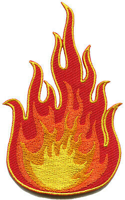 Fire symbol flames danger biker tattoo embroidered applique iron-on patch S-1646