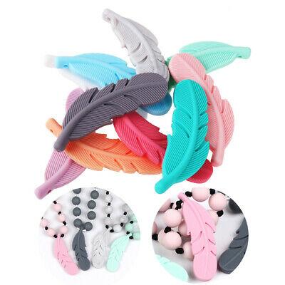 1X Feather Silicone Bead Teether Baby Teething Pendant Pacifier Chewing Toy DIY