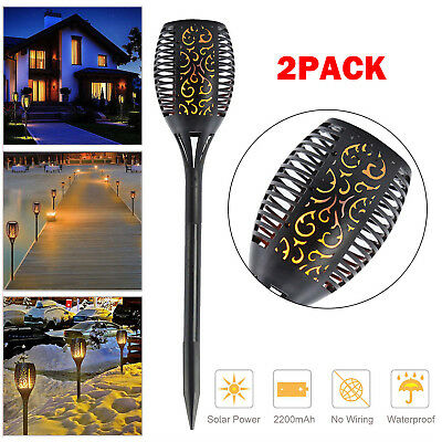 2 Pack Solar Torch Lights 96 LED Flickering Lighting Dancing Flame Garden Lamp