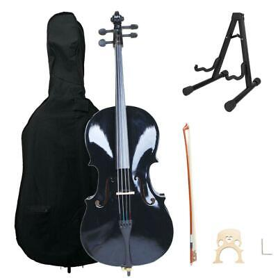 High Quality Professional 4/4 Full Size BassWood Cello Set Black