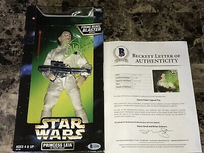 "Carrie Fisher Rare Signed 12"" Princess Leia Star Wars Action Figure Beckett COA"