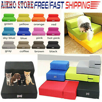 2 Steps Portable Small & large Dog Ladder Puppy Pet Soft Stairs Washable Cover