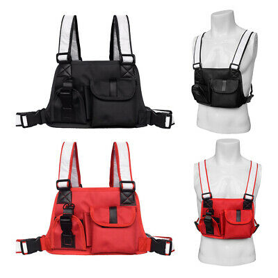 Men Women Tactical Harness Chest Rig Bag Hip-Hop Radio Two Pockets Fanny Pack