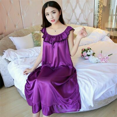 Lady Womens Lace Sleepwear Silky Soft Shiny Satin Nightdress Nighty Nightwear Pj