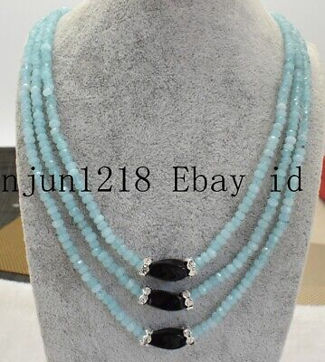 New 2x4mm 4x6mm Blue Faceted Aquamarine 8x16mm Agate Gems 3Row Necklace 18-20''