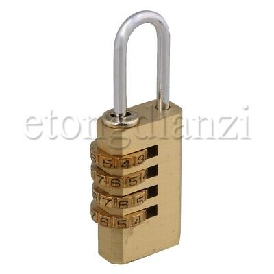 Brass 4 Digit Password Padlock for Securing Luggage Briefcases Purses