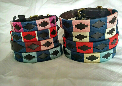 NEW! with GOLD!!* REAL Leather Dog Collar* POLO Goucho Design*Strong* Size S / M