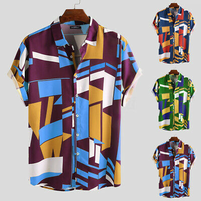 Mens Floral T Shirt Short Sleeve Top Flower Printed Retro Collar Baggy Cool Tee
