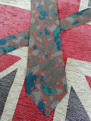 Hardy Amies vintage silk neck tie khaki orange blue Camouflage