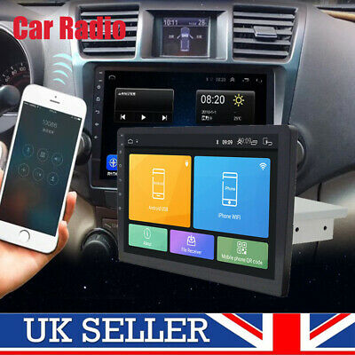 "Single 1-Din Android 8.1 10"" WiFi Car Stereo Radio GPS BT DAB Mirror Link OBD"