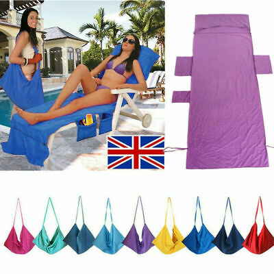 Holiday Lounger Mate Beach Towel Sun Bed Chair Covers Garden Lounge Pocket Bags