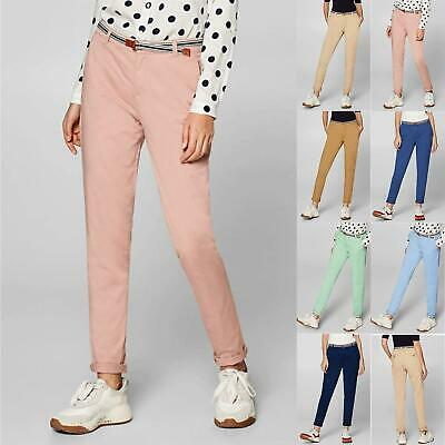 Ladies Womens Plain Skinny Fit Slim Fitted Pocket Chino Stretchy Pants Trouser