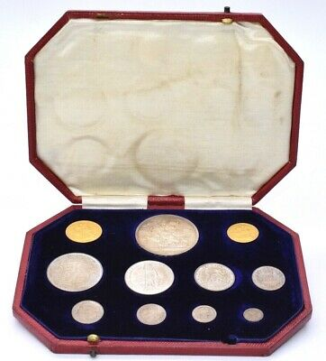 1902 Uncirculated Specimen 10 Coin Set With Full Half Gold 22ct Sovereign Cased