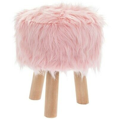 Round Furry Pink Stool Fluffy Bedroom Vanity Lounge Foot Rest Home Furniture