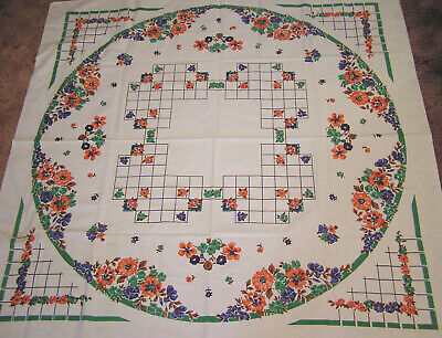 Vtg Tablecloth Heavy Cotton Floral Wheel Green Blue Orange 1940s