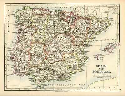 Antique MAP ~ SPAIN & PORTUGAL ~ W. & A. K. Johnston 1897 120+ Years Old