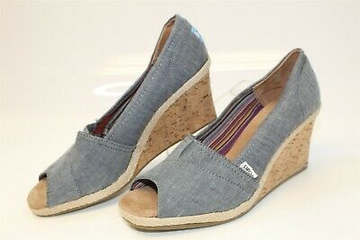 fe954e0d84 Toms NEW Womens 12 Blue Chambray Peep Toe Pumps Wedges Heels Shoes 230412
