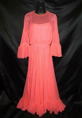 f9ec5a65dc91 Vintage 60s S Pink Maxi Dress Formal Gown Sheer Batwing Sleeves Empire  Waist Sm