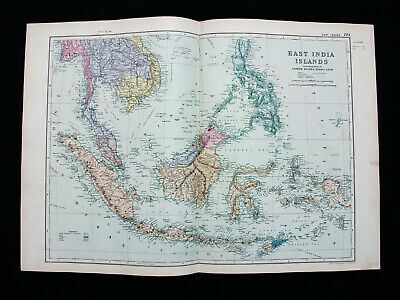 1891 G.W. BACON - rare map of EAST INDIES, PHILIPPINES, INDONESIA, JAVA, MALACCA