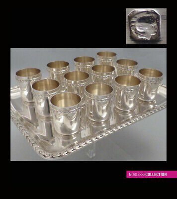 ANTIQUE 1900s FRENCH ALL STERLING SILVER CUPS & TRAY LIQUOR SET 13pc 16.7 TroyOz