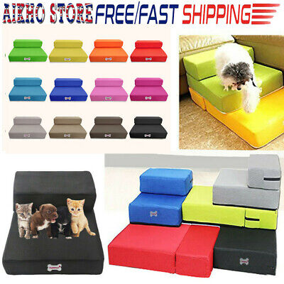 2 Steps Mesh Fold Pet Ramp Stairs Dog Puppy Cat Animals Mat Beds House Cushion