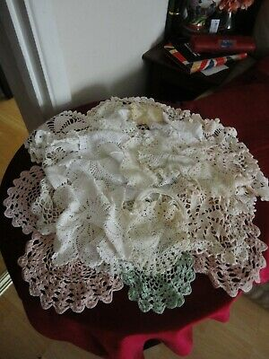 Job Lot Of Vintage Crocheted Doilies & Table Mats
