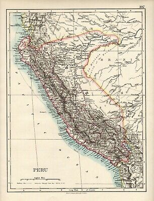 Antique MAP ~ PERU South America ~ W. & A. K. Johnston 1897 120+ Years Old
