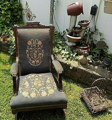 Antique1890's Eastlake Platform Rocking Chair Victorian Rocker