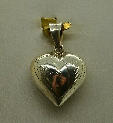 Sterling Silver Fancy Heart Shape W/Etched Floral Designs Pendant#Fme197