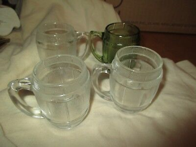 Set of 4 Vintage Mini Mugs Shot Glass Small Beer Barrel Toothpick Holder
