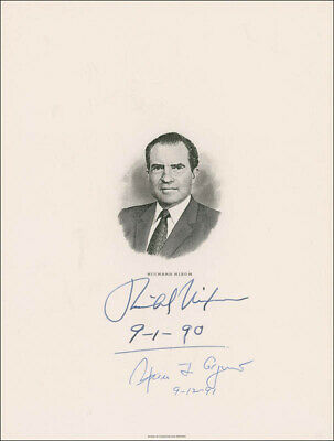 Richard M. Nixon - Engraving Signed 09/01/1990 Co-Signed By: Spiro T. Agnew