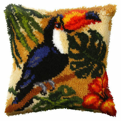 Toucan Latch Hook Cushion Front Kit. Orchidea, 40x40cm Printed canvas