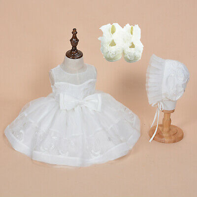 Baby Girls Lace Christening Dress Ivory Wedding Party Dress Bonnet and Shoes