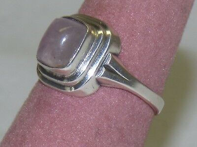Lovely Vintage Old 830 Silver Ring w/ Rose Quartz Stone Size 5.75 Marked S1